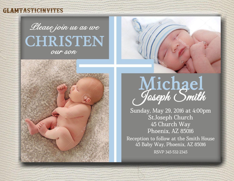 Boy Baptism Invitations Background