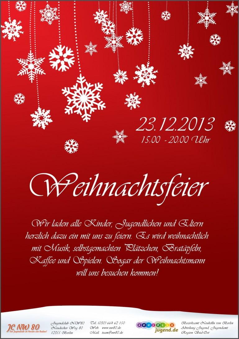 Einladungen  Einladung Weihnachtsfeier Vorlage Word Wunderbar