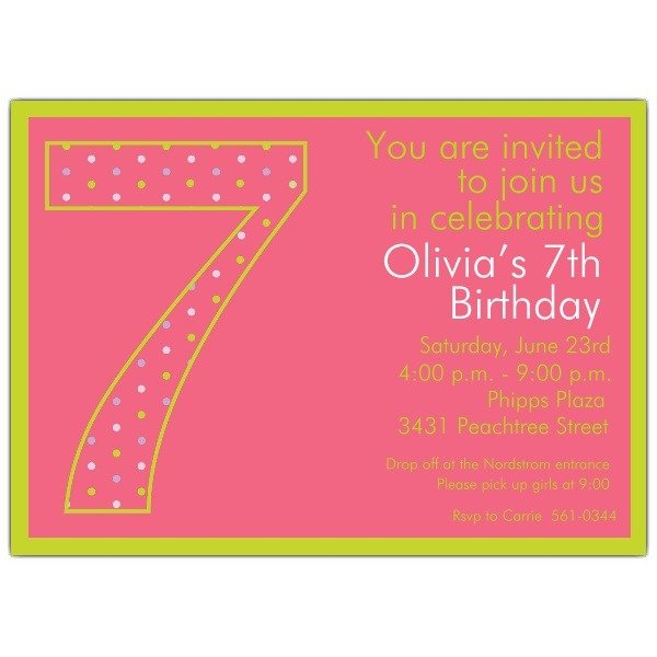 Example Of 7th Birthday Invitation Stunning With Example Of 7th
