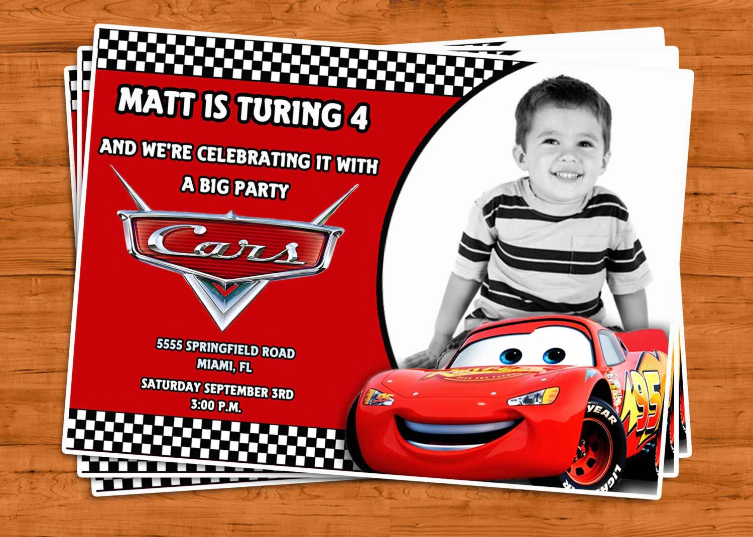 Cars Theme Party Invitations