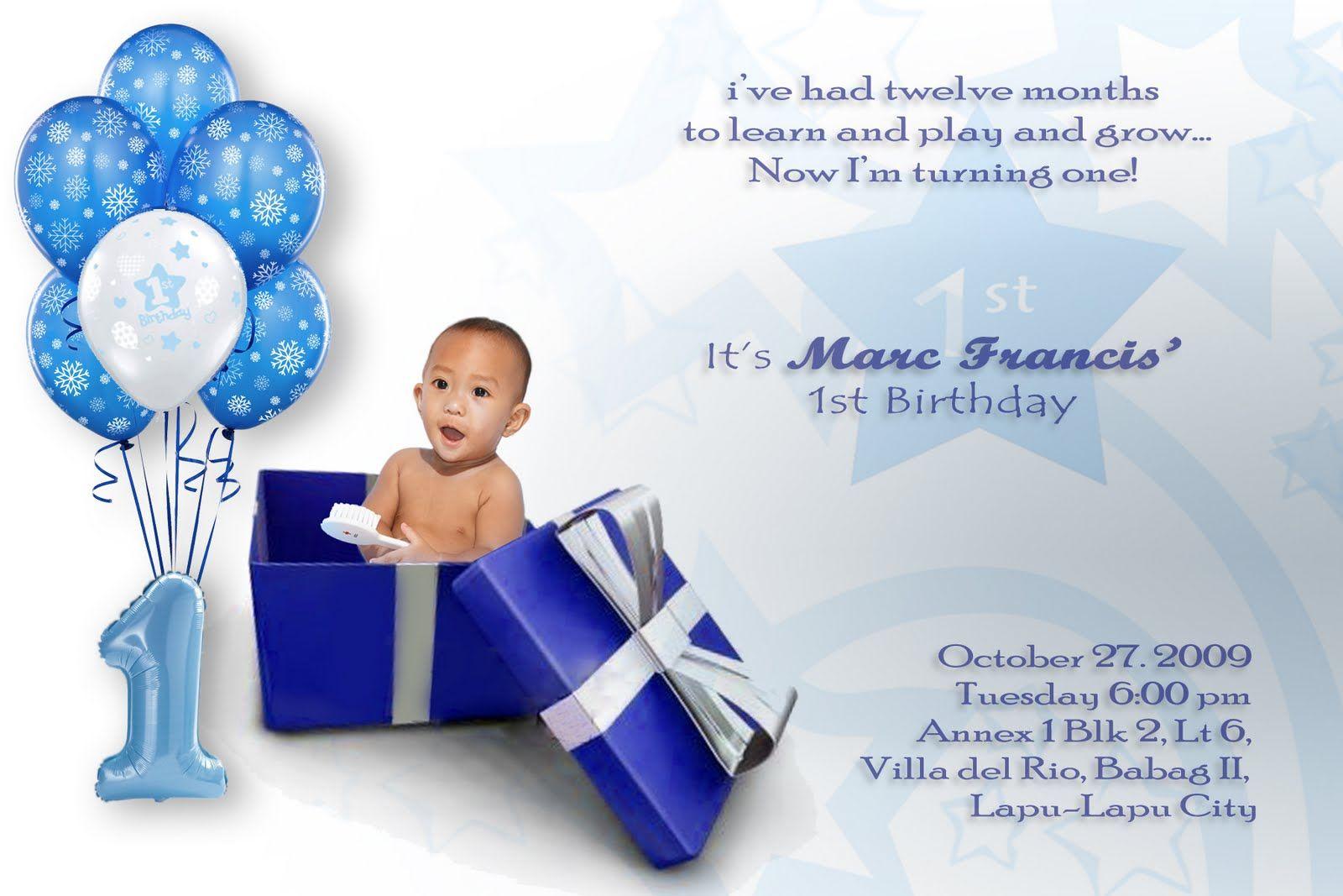 Baby Boy First Birthday Invitations