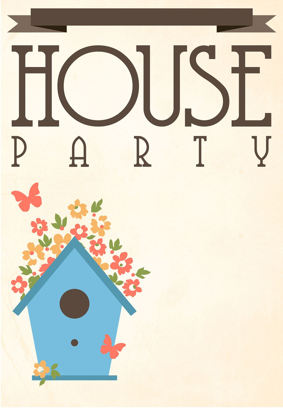 Free Printable House Party Invitation