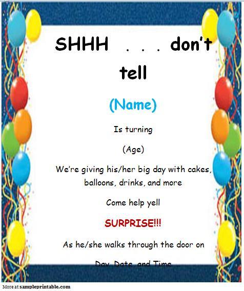 Fearsome Free Fresh Surprise Birthday Invitations Templates Free