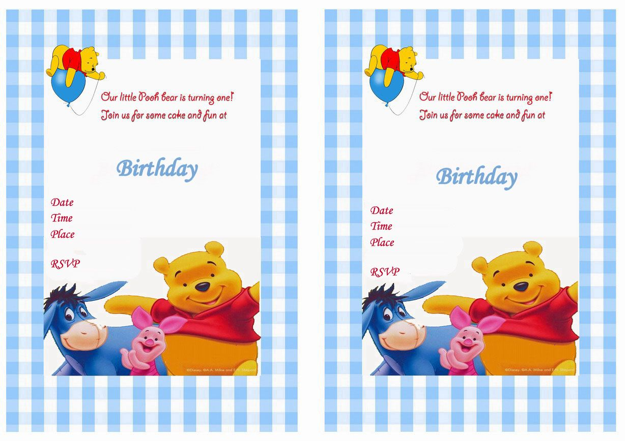 Winnie The Pooh Birthday Printable Invitations Click Image Below