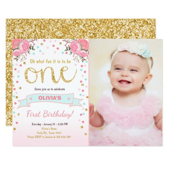 First Birthday Girl Invitations Vintage With First Birthday Girl