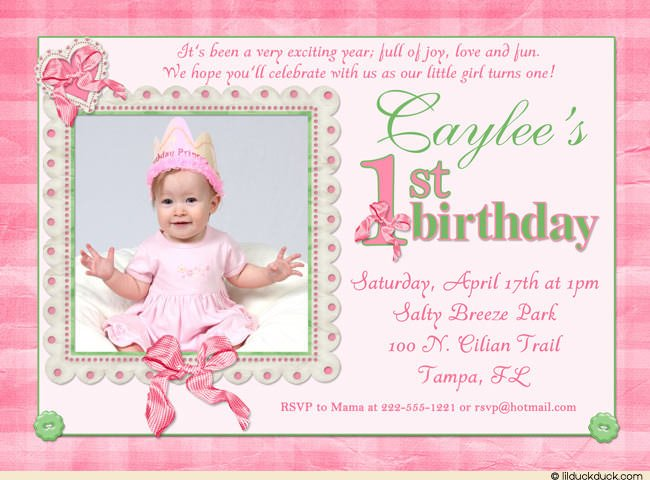 First Birthday Invitation For Baby Girl Vintage With First