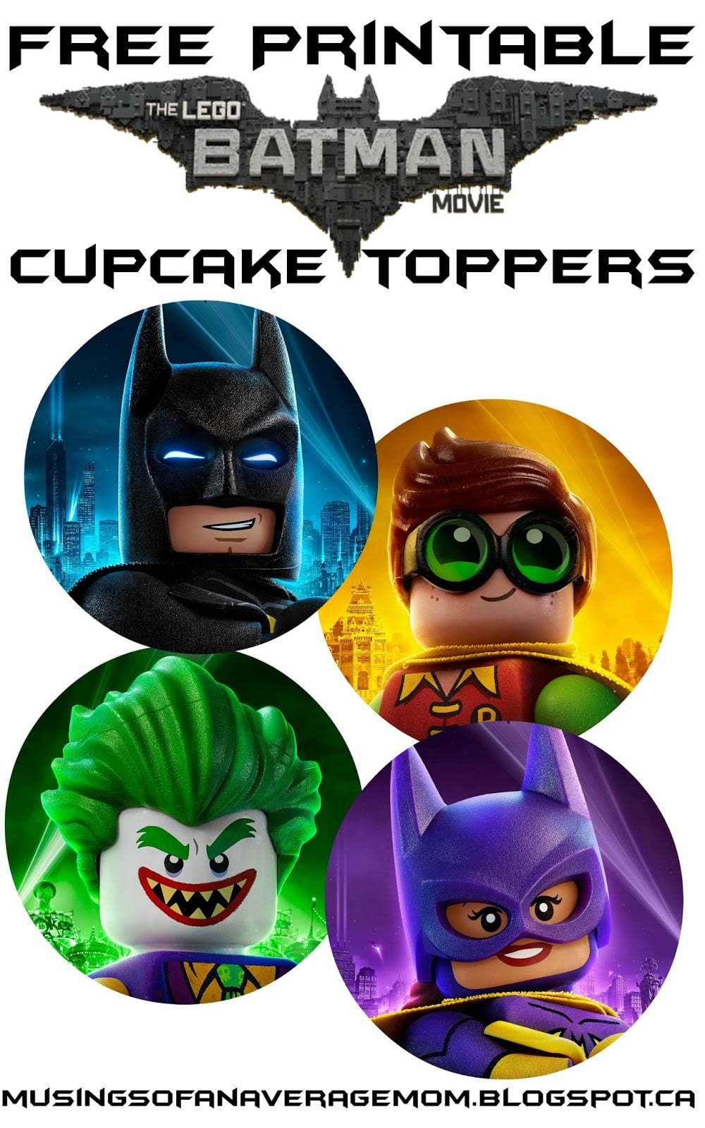Musings Of An Average Mom  Free Lego Batman Cupcake Toppers