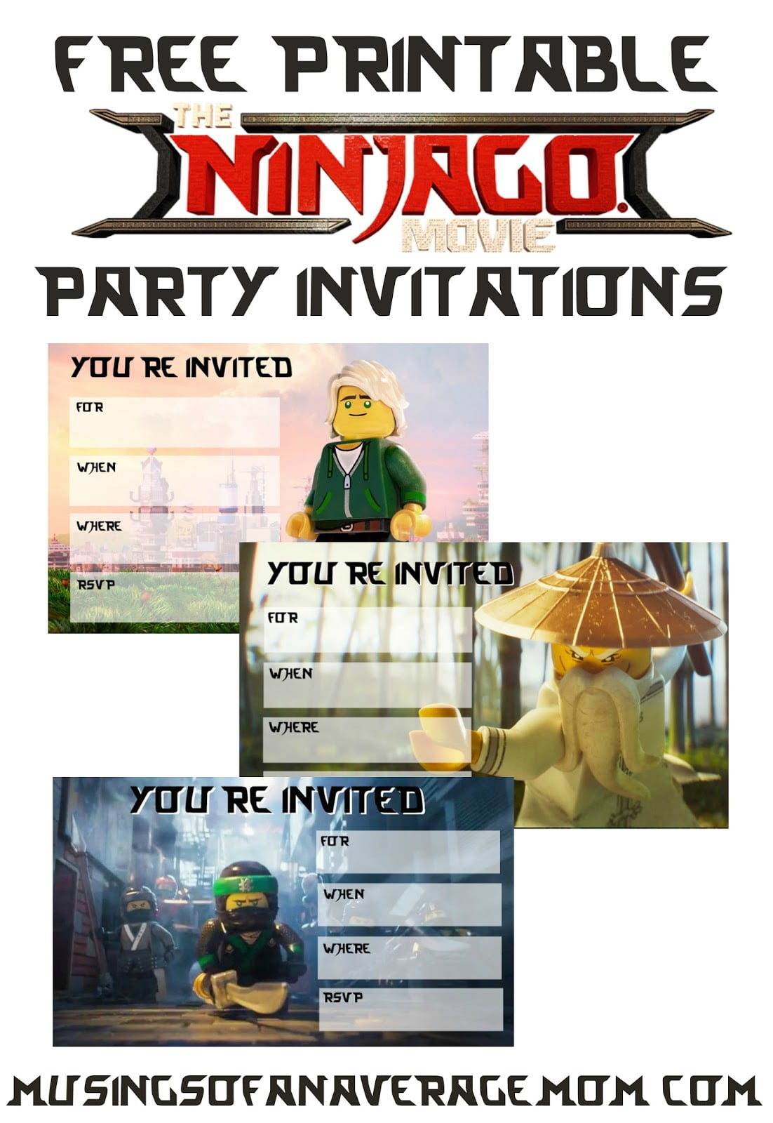 Musings Of An Average Mom  Ninjago Movie 2017 Invitations