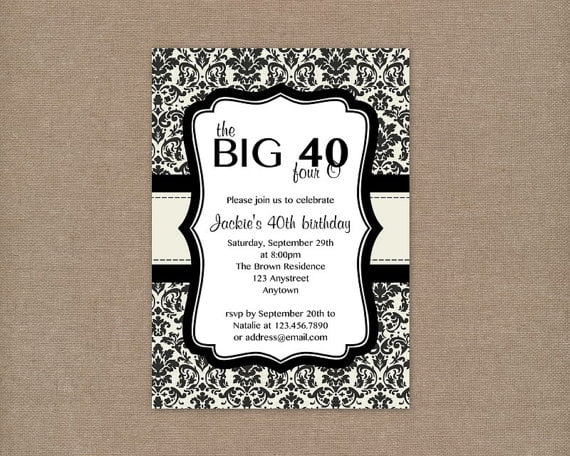Free 40th Birthday Invitation Templates Elegant Design 40th Party