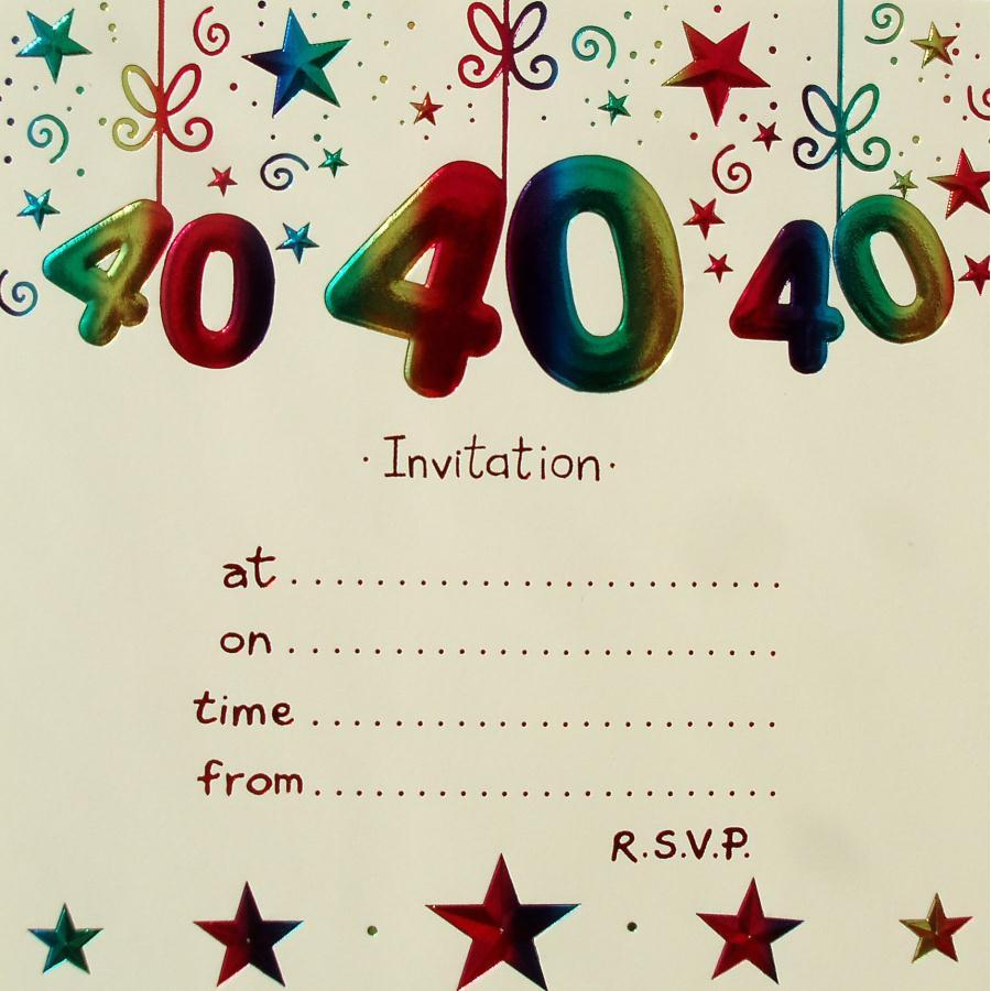 Free 40th Birthday Party Invitation Templates Superb With Free