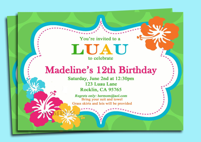 Free Luau Party Invitations