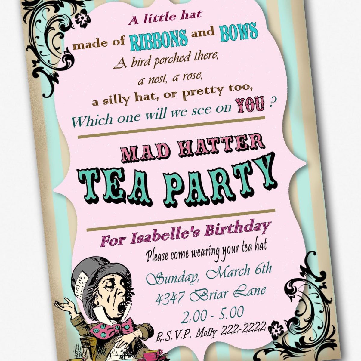 Mad Hatter T Superb Mad Hatter Tea Party Invitation Template Free