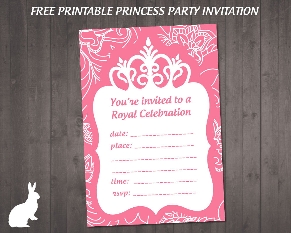 Free Party Invitation Princess Theme Fabulous Princess Party