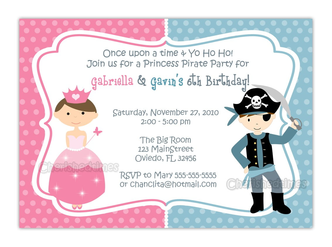 Free Printable Princess And Pirate Birthday Party Invitations