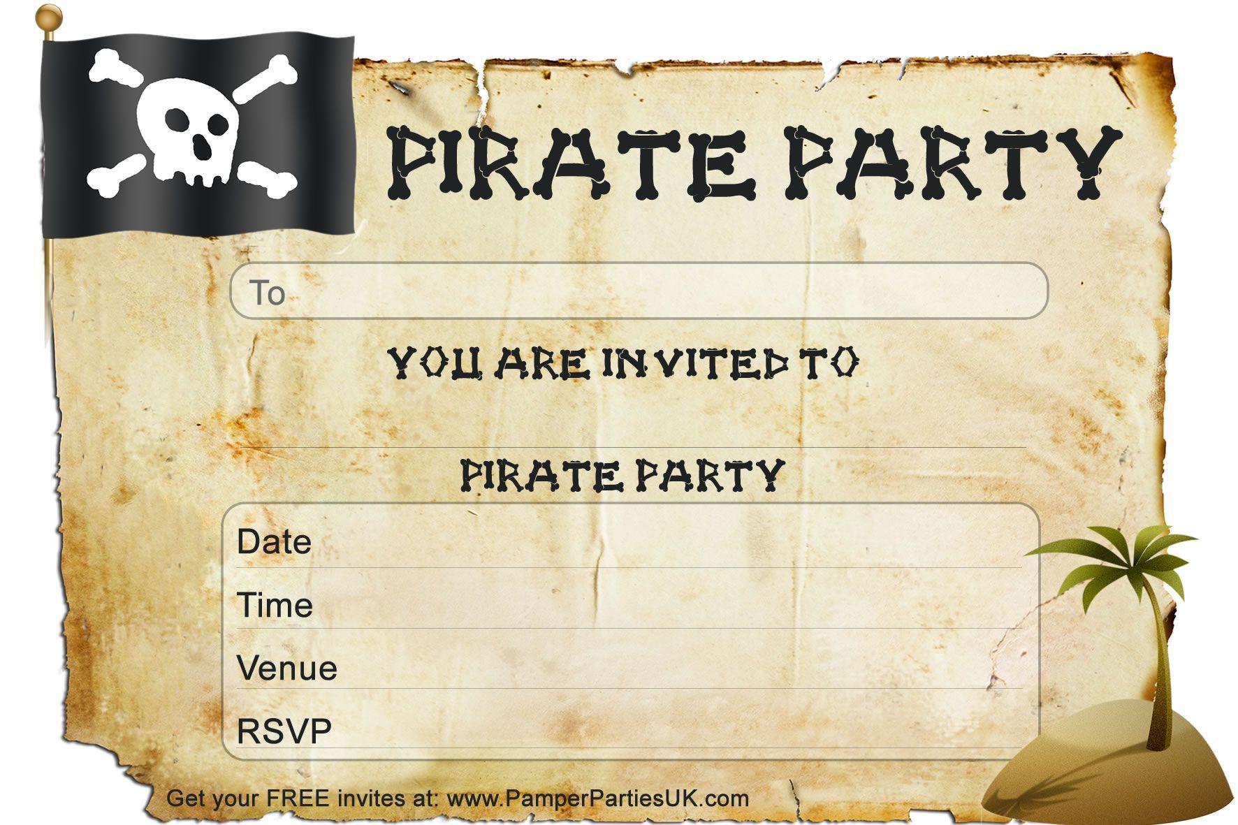 Free Birthday Pirate Invitation Template Pics Of Pirate Birthday