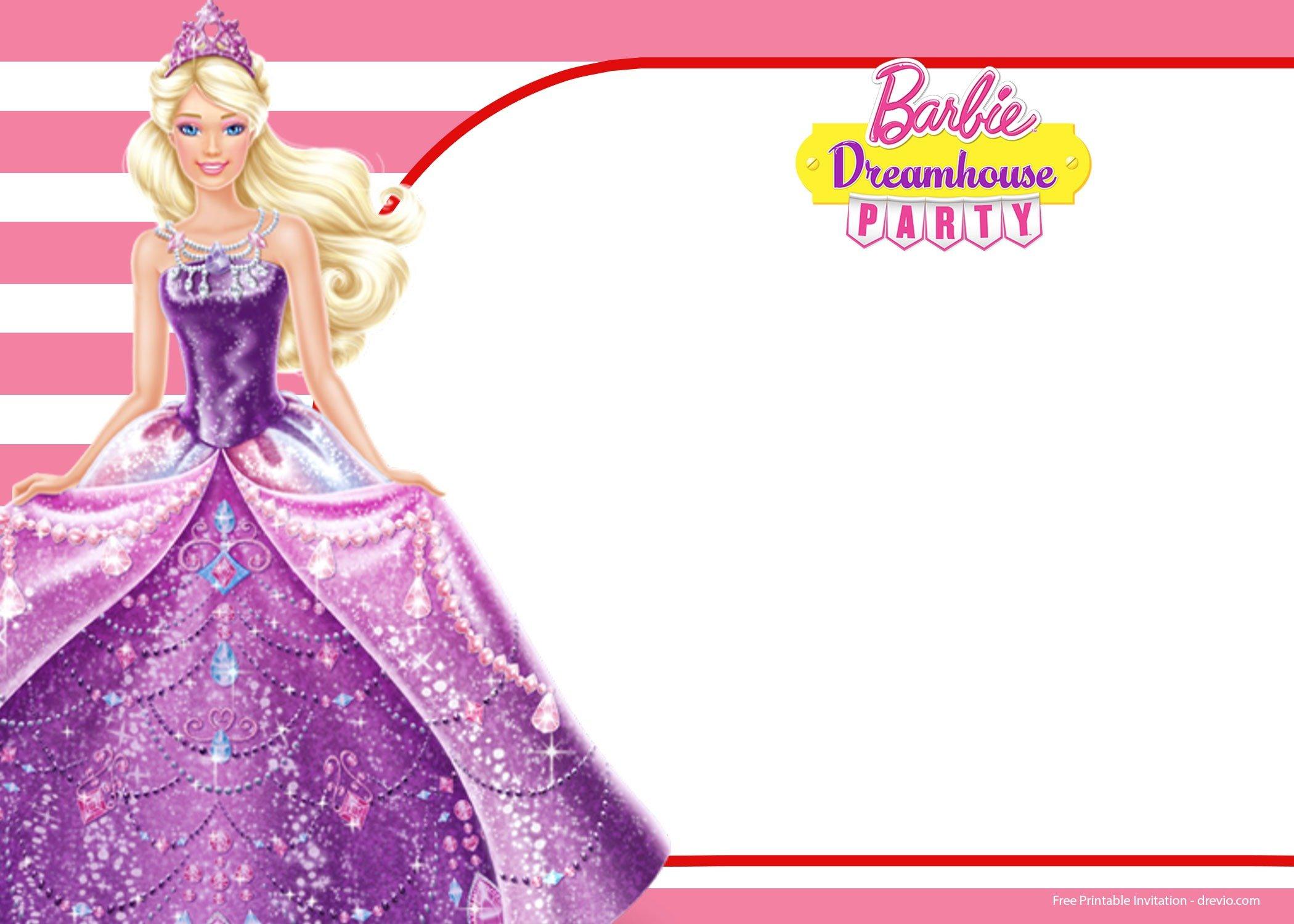 Birthday Invitation Templates Free With Free Barbie Birthday