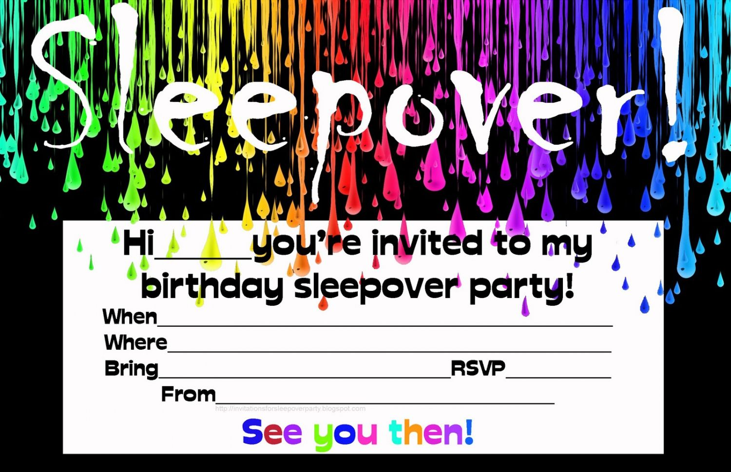 Free Printable Birthday Invitations For Boys Sleepover Party