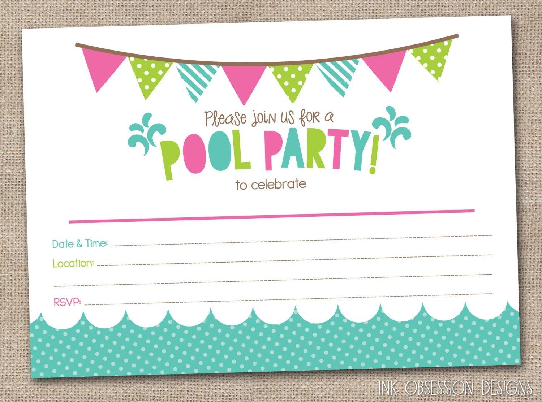Free Printable Birthday Pool Party Spectacular Printable Birthday