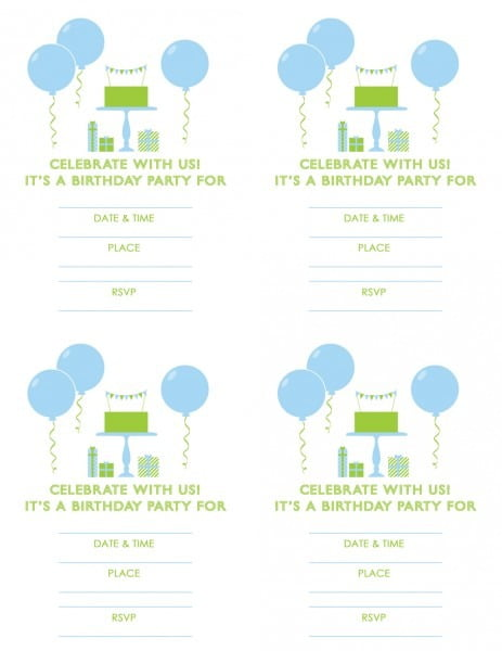 Free Printable Boy Birthday Invitaiton Blue Green X Cute Free