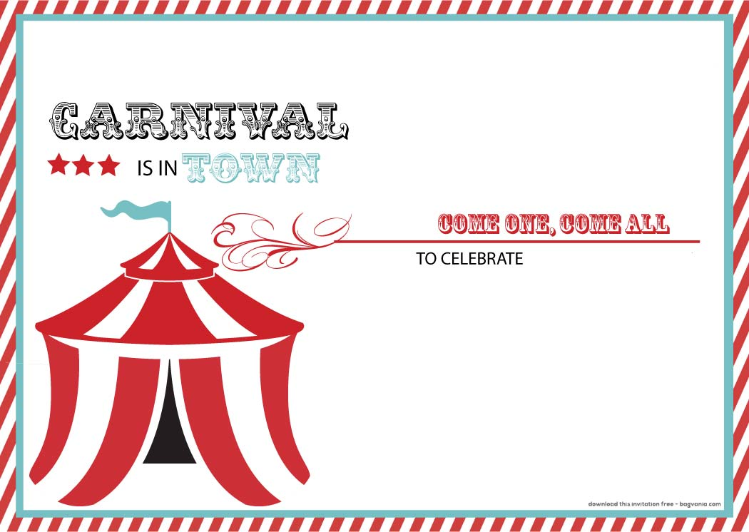 Daaacaaafcb Carnival Birthday Party Invitations Free Carnival
