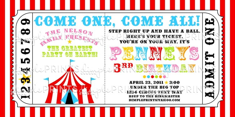 Circus Party Invitations Free Temp Best Free Circus Birthday