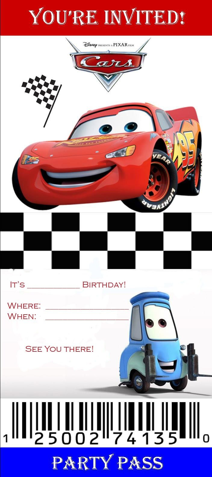 Free Printable Disney Cars Birthday Party Invitations Superb With