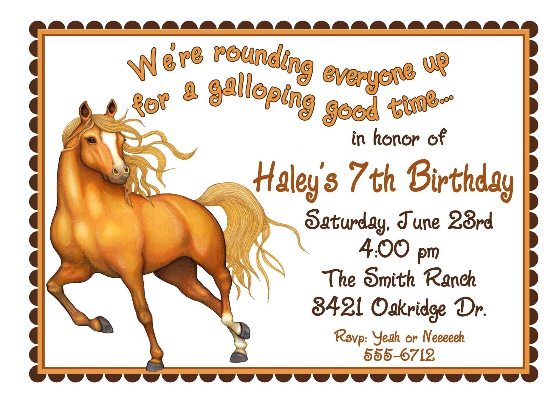 Xfree Printable Horse Birthday Invitations Pagespeed Ic Ndjgmxw