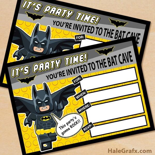 Free Printable Lego Batman Birthday Invit Fancy Lego Batman Party
