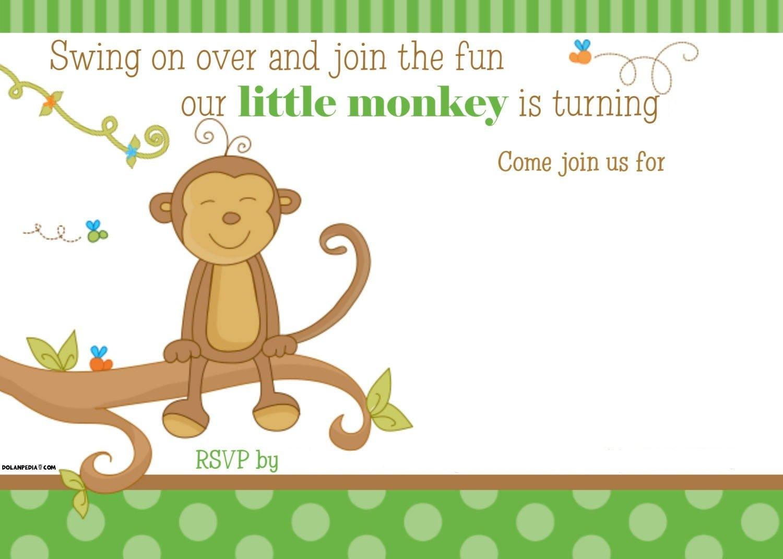 Free Printable Little Monkey Birthday Invitation Template