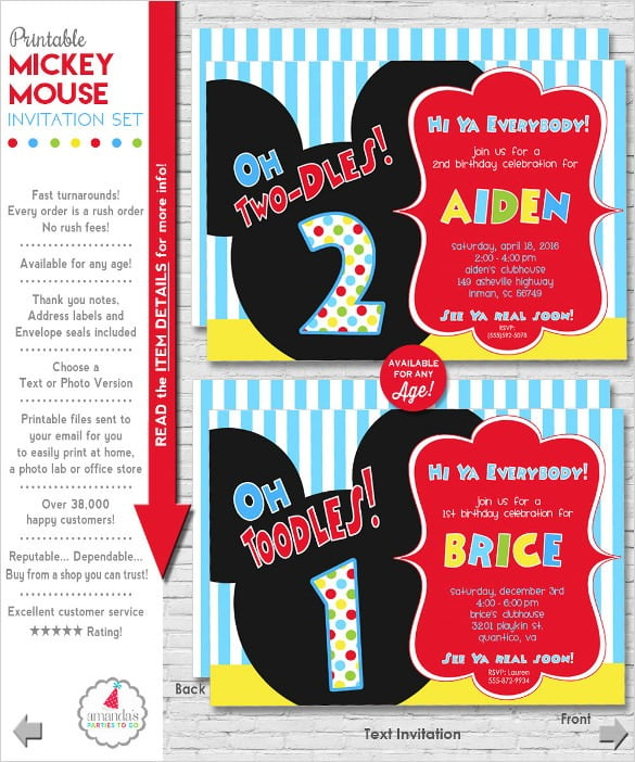 Free Printable Mickey Mouse Birthday Invitations Cute With Free