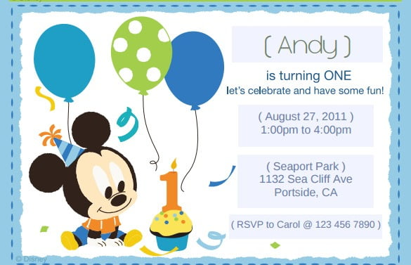 Free Printable Mickey Mouse St Birthday Invi Lovely Free Printable