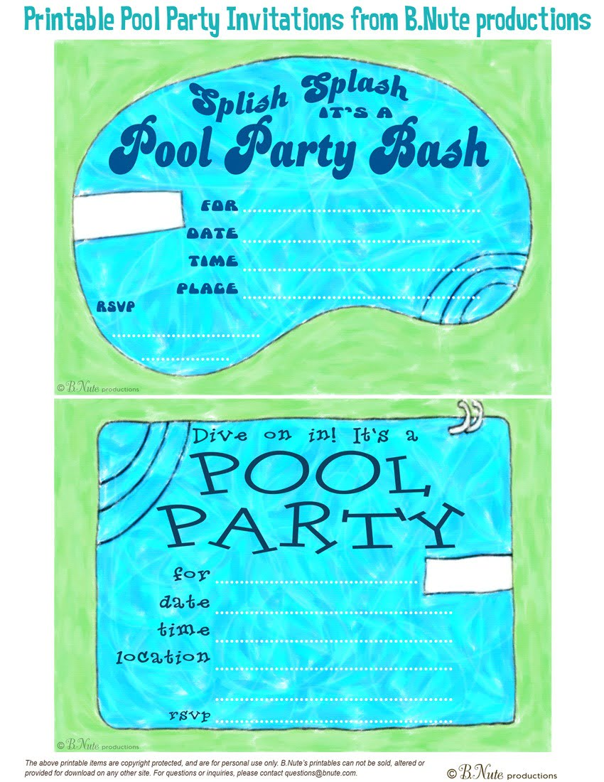 Free Printable Pool Party Invitations Free Printable Pool Party