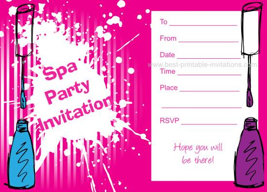 Cfaddcfeffde Spa Party Invitations Spa Birthday Beautiful Spa