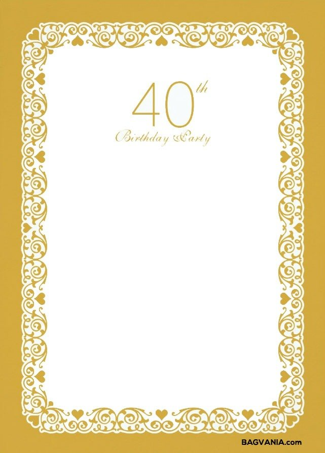 Invitation Template  40th Birthday Invitation Templates