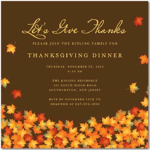 Free Printable Thanksgiving Dinner Invitation Templates Nice With