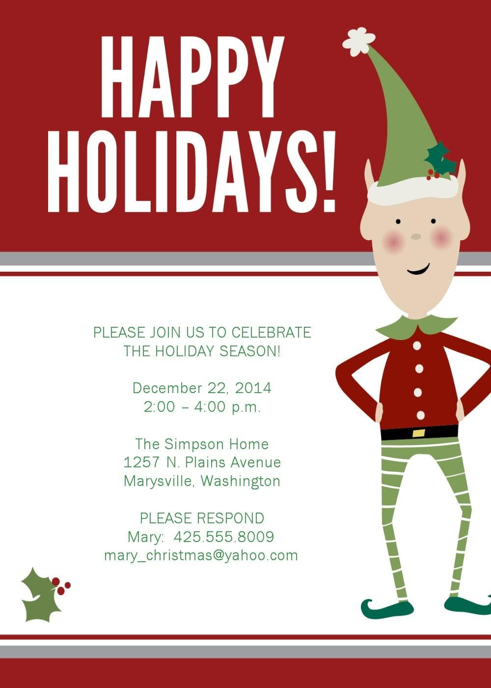 Free Templates Christmas Invitations Image – 20 Christmas