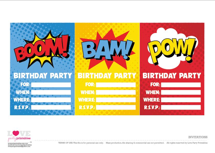 Free Superhe Best Superhero Birthday Invitations Free