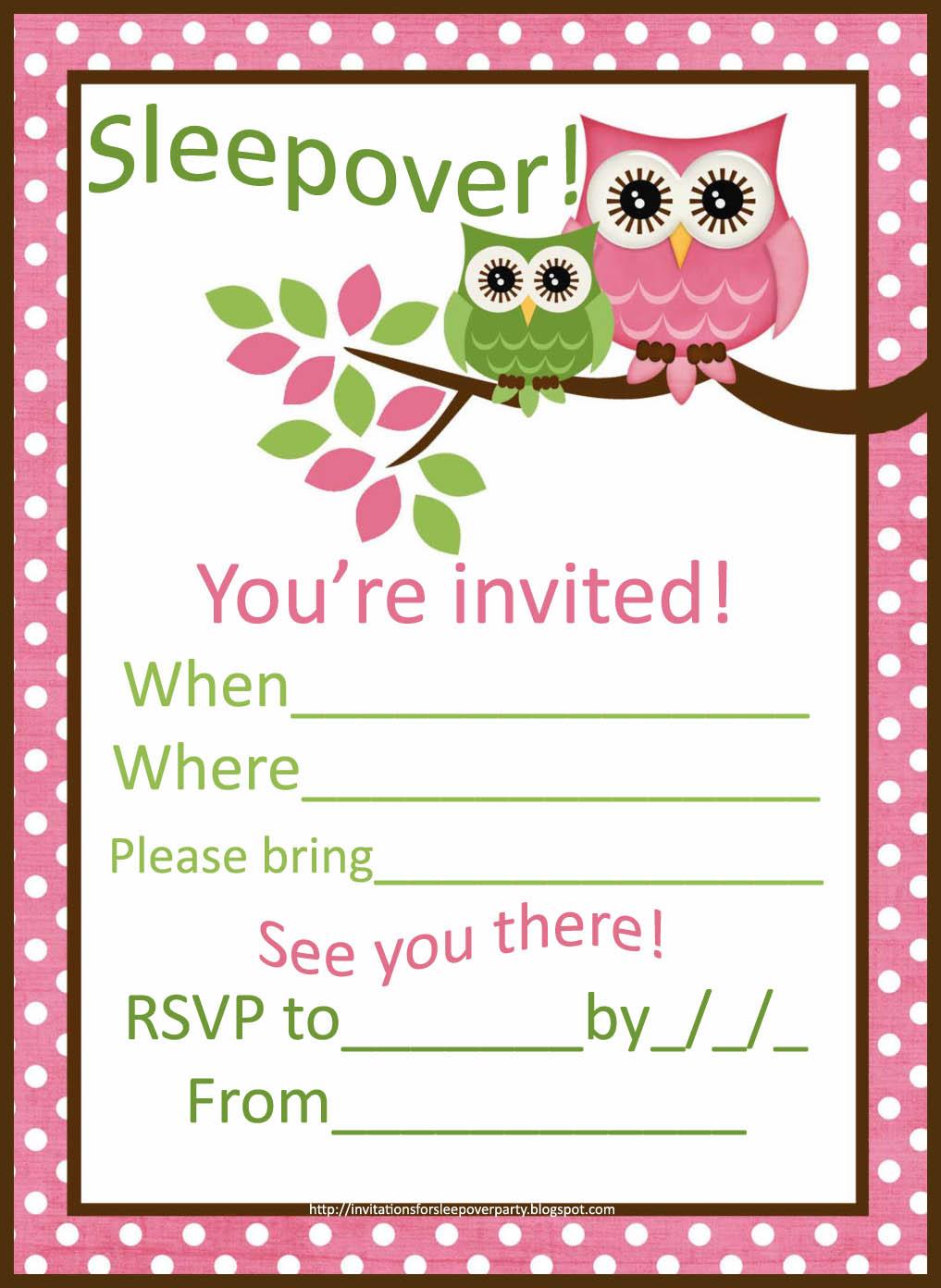 Sleepover Invitations For Girls