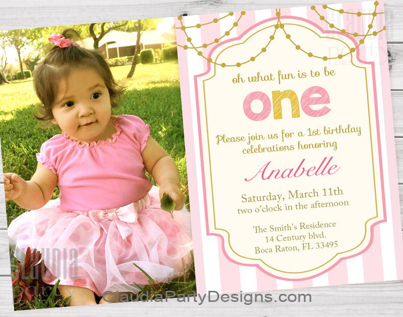 Girl St Birthday Invita Perfect First Birthday Photo Invitations