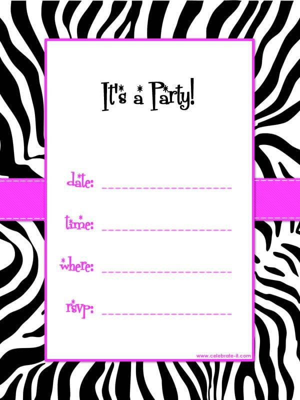 Girls Birthday Parties Invitations Popular Free Printable Girl