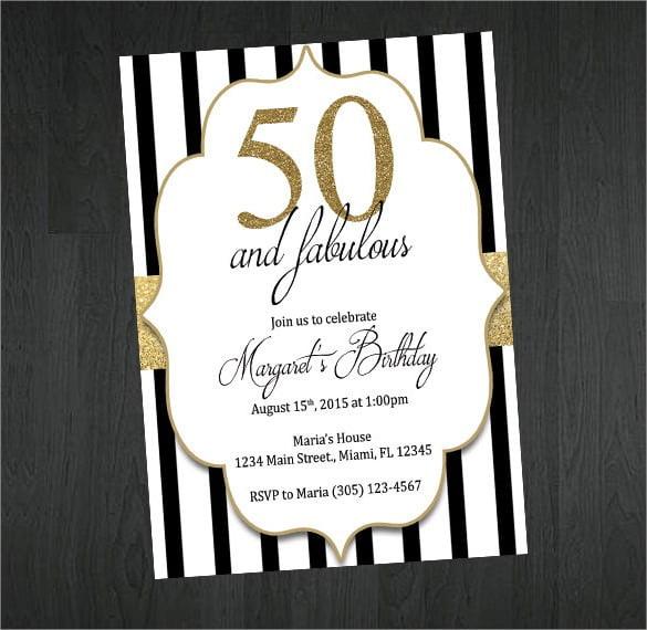 Gold Black And White Th Birthday Invitation Stunning Free 50th