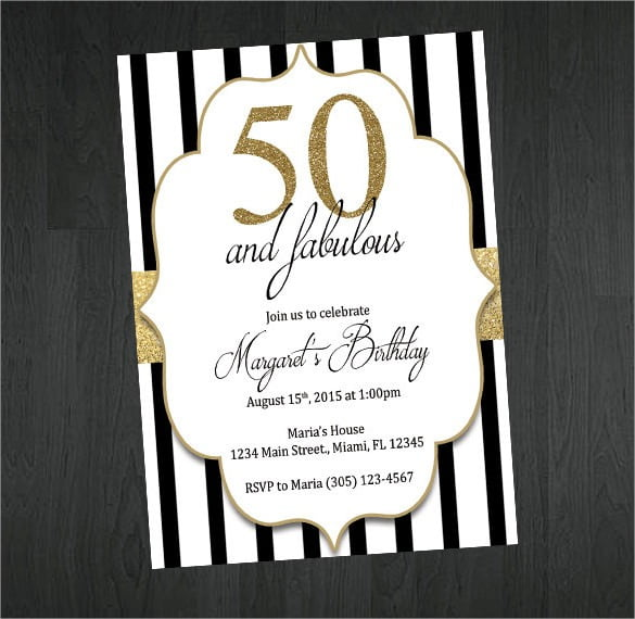 Gold Black And White Th Birthday Invitation Vintage Surprise 50th