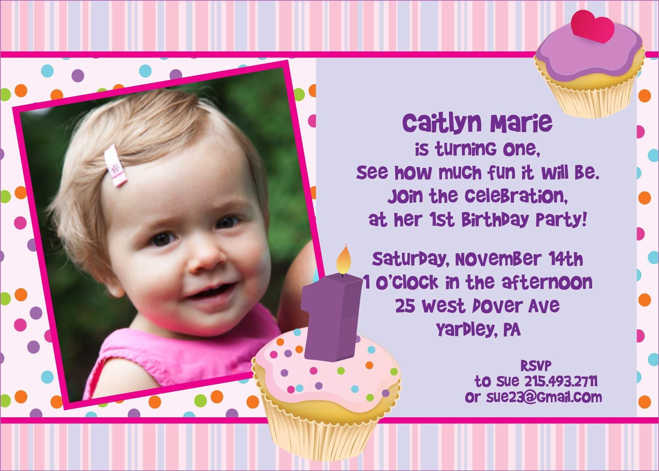 Great Sample Of 1st Birthday Invitation Card