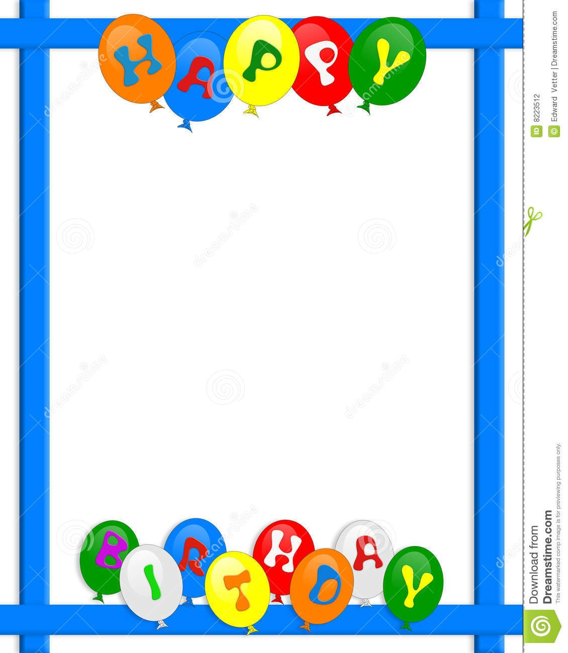Happy Birthday Balloons Border Frame Stock Illustration