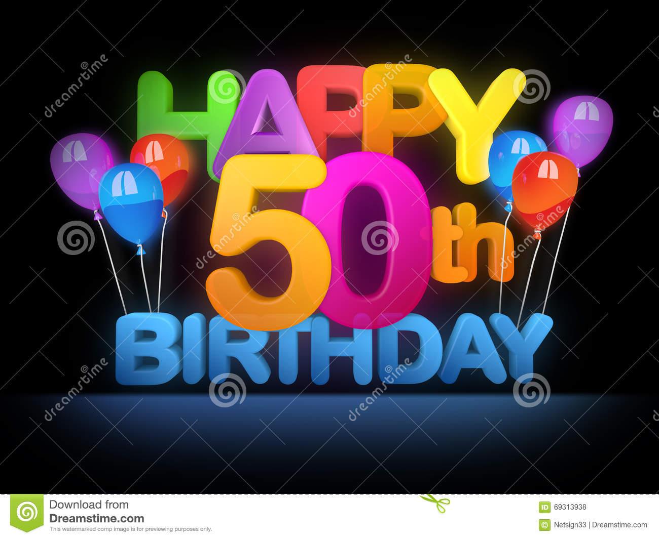Happy 50th Birthday, Dark Stock Illustration  Illustration Of