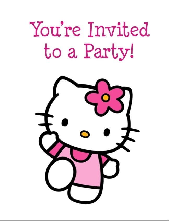 Hellokitty Copy Vintage Hello Kitty Birthday Invitation Card