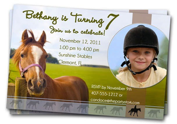 Horse Birthday Party Invitations Horse Birthday Party Invitations