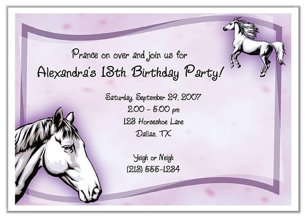 Invitation  Horse Party Invitations