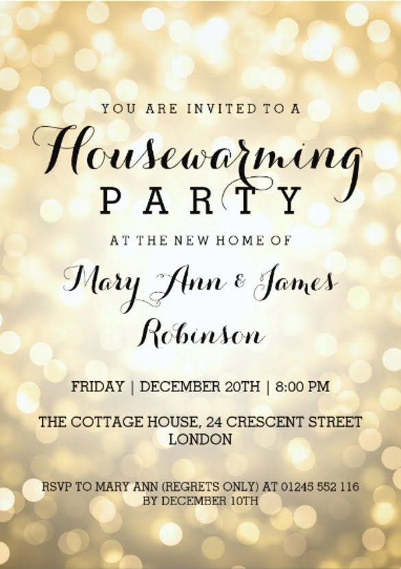 Housewarming Party Gold Glitter Lights X Paper Invitation Card New