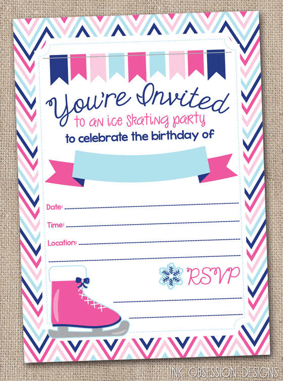Ice Skating Party Invites Skating Party Invitation Template Free